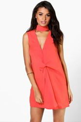 Boohoo High Neck Rouched Shift Dress Orange
