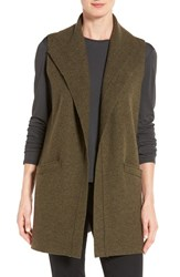 Eileen Fisher Petite Women's Funnel Neck Boiled Wool Vest Caper