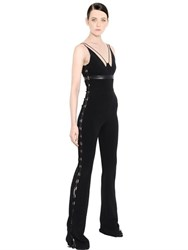 David Koma Cady Jumpsuit W Leather Lace Up Detail
