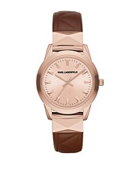 Karl Lagerfeld Labelle Stud Brown Leather Strap Watch