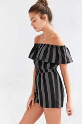 Lucca Couture Striped Off The Shoulder Romper Black And White