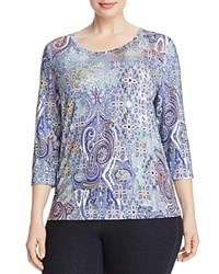 Basler Plus Paisley Print Tee Blue Multicolour