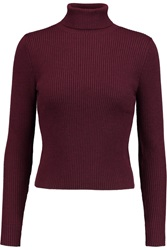 Carven Ribbed Wool Turtleneck Sweater Red