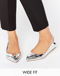 Asos Leapfrog Wide Fit Pointed Ballet Flats Silver