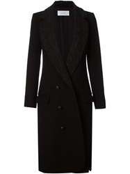 Julien David Brocade Collar Coat Black