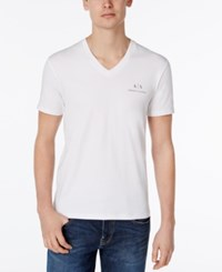 Armani Exchange Men's Ax Graphic Print Logo V Neck T Shirt White