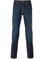 Versace Embroidered Jeans Blue