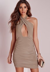 Missguided Slinky Halter Ruche Bodycon Dress Taupe Grey