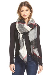 Steve Madden Crinkle Plaid Scarf Red