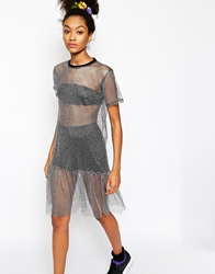 The Ragged Priest Metallic Sheer Mesh T Shirt Dress With Peplum Hem Silver