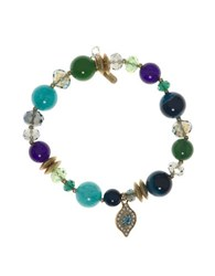 Lonna And Lilly Evil Eye Charm Beaded Stretch Bracelet Green