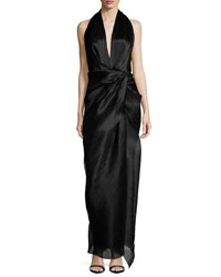 Camilla And Marc Sleeveless V Neck Halter Gown Women's Black