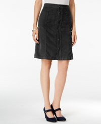 Styleandco. Style Co. Button Front Corduroy Skirt Only At Macy's Deep Black