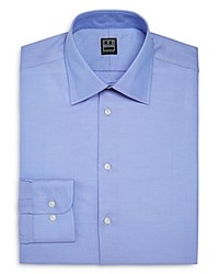 Ike Behar Twill Solid Regular Fit Dress Shirt Blue