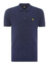 Lyle And Scott Square Dot Short Sleeve Polo Shirt Navy