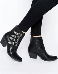 Glamorous Multi Buckle Western Ankle Boots Black