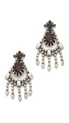 Dannijo Trevi Earrings Ox Silver Matte Black Burgundy