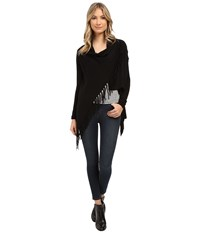 Christin Michaels Evelyn Fringed Wrap Cardigan Black Women's Sweater