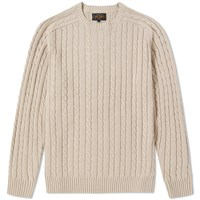 Beams Plus Cable Knit Crew Neck Brown