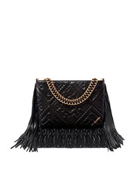 Brian Atwood Nina Fringed Lamb Leather Shoulder Bag Black