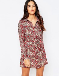 Rare Shirt Dress In Paisley Print Red