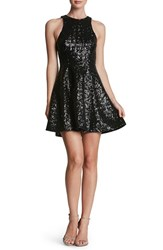 Dress The Population Women's 'Ginger' Sequin Fit And Flare Matte Black