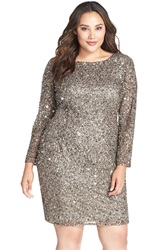 Adrianna Papell Embellished Scoop Back Cocktail Dress Plus Size Lead