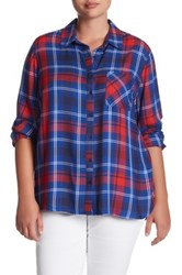 Como Vintage Mixed Plaid Shirt Plus Size Blue