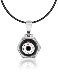 Forzieri Stainless Steel Compass Pendant W Rubber Necklace Silver