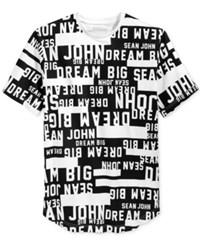 Sean John Men's Text Graphic Print T Shirt Black White