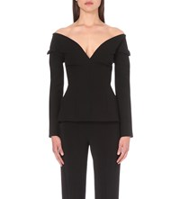 Antonio Berardi Off The Shoulder Crepe Top Blk