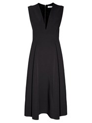 Jil Sander Bocciolo V Neck Midi Dress Black