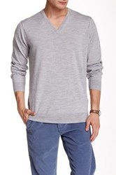 Ben Sherman Merino Wool V Neck Sweater Gray
