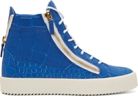 Giuseppe Zanotti Blue Croc Embossed High Top London Sombry Sneakers