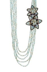 Nakamol Design Double Flower Accent Beaded Drape Necklace No Color