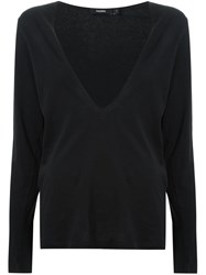 Bassike Plunging V Neck Top Black