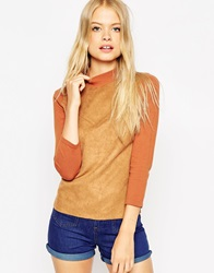 Asos Top With Suedette Front And Turtle Neck Tobacco