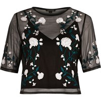 River Island Womens Black Floral Embroidered Crop Top