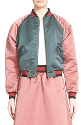 Women's Tomas Maier Colorblock Duchesse Satin Baseball Jacket