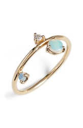 Wwake 'Counting Collection Three Step Balloon' Opal And Diamond Ring Yellow Gold
