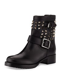 Valentino Rockstud Leather Motorcycle Ankle Boot Black