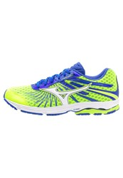 Mizuno Wave Sayonara 4 Lightweight Running Shoes Safety Yellow White Dazzling Blue