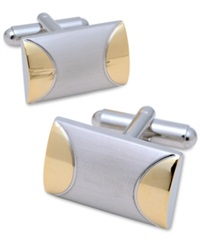 Geoffrey Beene Cufflinks Domed Rectangle In Brushed Rhodium With Gold Tone Accent Cufflinks Boxed Set Gold Silver