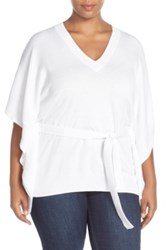 Michael Michael Kors Belted V Neck Poncho Top Plus Size White