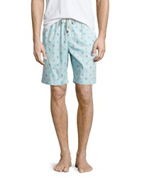 Penguin Logo Print Shorts Light Blue Print
