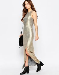 First And I First And I Mavi Metallic Maxi Skirt Gold Metallic