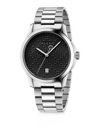 Gucci G Timeless Stainless Steel Bracelet Watch Silver Black