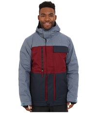 686 Authentic Smarty Form Jacket Wine Color Block Men's Coat Gray