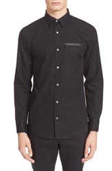 Men's Opening Ceremony Slim Fit Brushed Poplin Zip Pocket Shirt