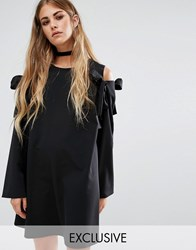 Reclaimed Vintage Oversized Shift Dress With Cold Shoulder Bows Black